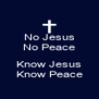 No Jesus No Peace  Know Jesus Know Peace - Personalised Poster A4 size
