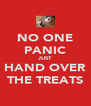 NO ONE PANIC JUST HAND OVER THE TREATS - Personalised Poster A4 size