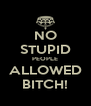 NO STUPID PEOPLE ALLOWED BITCH! - Personalised Poster A4 size