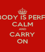 NOBODY IS PERFECT CALM AND CARRY ON - Personalised Poster A4 size