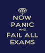 NOW PANIC AND FAIL ALL EXAMS - Personalised Poster A4 size