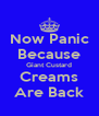 Now Panic Because Giant Custard Creams Are Back - Personalised Poster A4 size