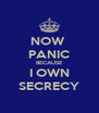NOW  PANIC BECAUSE I OWN SECRECY - Personalised Poster A4 size