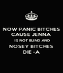 NOW PANIC BITCHES CAUSE JENNA  IS NOT BLIND AND NOSEY BITCHES DIE -A - Personalised Poster A4 size