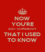 NOW YOU'RE JUST SOMEBODY THAT I USED TO KNOW - Personalised Poster A4 size