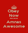 Obey  Now Because Amnas Awesome - Personalised Poster A4 size