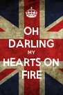 OH DARLING MY HEARTS ON FIRE - Personalised Poster A4 size