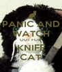 PANIC AND WATCH OUT FOR KNIFE CAT - Personalised Poster A4 size