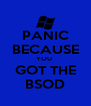 PANIC BECAUSE YOU  GOT THE BSOD - Personalised Poster A4 size
