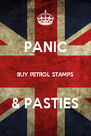 PANIC  BUY PETROL STAMPS  & PASTIES - Personalised Poster A4 size