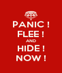 PANIC ! FLEE ! AND HIDE ! NOW ! - Personalised Poster A4 size