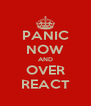 PANIC NOW AND OVER REACT - Personalised Poster A4 size
