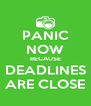 PANIC NOW BECAUSE DEADLINES ARE CLOSE - Personalised Poster A4 size