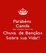 Parabéns  Camila Que o Senhor Derrame Chuva  de Bençãos Sobre sua Vida!! - Personalised Poster A4 size