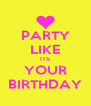 PARTY LIKE ITS YOUR BIRTHDAY - Personalised Poster A4 size