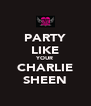 PARTY LIKE YOUR CHARLIE SHEEN - Personalised Poster A4 size