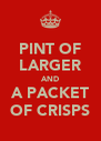 PINT OF LARGER AND A PACKET OF CRISPS - Personalised Poster A4 size