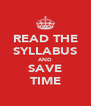 READ THE SYLLABUS AND SAVE TIME - Personalised Poster A4 size