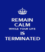 REMAIN CALM WHILE YOUR LIFE IS TERMINATED - Personalised Poster A4 size
