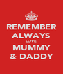 REMEMBER ALWAYS LOVE MUMMY & DADDY - Personalised Poster A4 size
