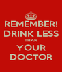 REMEMBER! DRINK LESS THAN YOUR DOCTOR - Personalised Poster A4 size