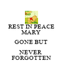 REST IN PEACE MARY GONE BUT NEVER  FORGOTTEN - Personalised Poster A4 size