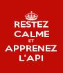 RESTEZ CALME ET APPRENEZ L'API - Personalised Poster A4 size