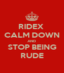 RIDEX  CALM DOWN AND STOP BEING RUDE - Personalised Poster A4 size