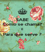 SABE Como se chama? E Para que serve ?  - Personalised Poster A4 size
