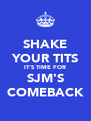 SHAKE YOUR TITS IT'S TIME FOR SJM'S COMEBACK - Personalised Poster A4 size