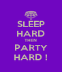 SLEEP HARD THEN PARTY HARD ! - Personalised Poster A4 size