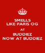 SMELLS LIKE PARIS OG AT BUDDIEZ NOW AT BUDDIEZ - Personalised Poster A4 size