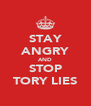 STAY ANGRY AND STOP TORY LIES - Personalised Poster A4 size