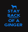 STAY BACK PROPERTY OF A GINGER  - Personalised Poster A4 size