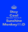 Stay Cool Because You're A Sunshine Monkey!!:D - Personalised Poster A4 size