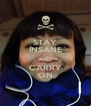 STAY INSANE AND CARRY ON - Personalised Poster A4 size