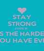 STAY STRONG EVEN IF  IT IS THE HARDEST  THING YOU HAVE EVER DONE - Personalised Poster A4 size