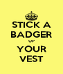 STICK A BADGER UP YOUR VEST - Personalised Poster A4 size