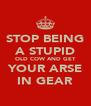 STOP BEING A STUPID OLD COW AND GET YOUR ARSE IN GEAR - Personalised Poster A4 size