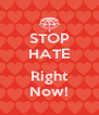 STOP HATE  Right Now! - Personalised Poster A4 size