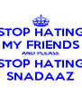 STOP HATING MY FRIENDS AND PLEASE STOP HATING SNADAAZ - Personalised Poster A4 size