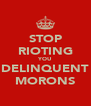 STOP RIOTING YOU DELINQUENT MORONS - Personalised Poster A4 size