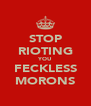 STOP RIOTING YOU FECKLESS MORONS - Personalised Poster A4 size