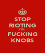 STOP RIOTING YOU FUCKING KNOBS - Personalised Poster A4 size
