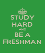 STUDY HARD AND BE A FRESHMAN - Personalised Poster A4 size