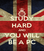 STUDY HARD AND YOU WILL BE A PC - Personalised Poster A4 size