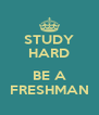STUDY HARD  BE A FRESHMAN - Personalised Poster A4 size
