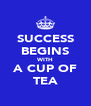 SUCCESS BEGINS WITH A CUP OF TEA - Personalised Poster A4 size
