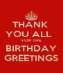 THANK  YOU ALL   FOR THE BIRTHDAY GREETINGS - Personalised Poster A4 size