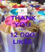 THANK YOU FOR 12 000 LIKES - Personalised Poster A4 size